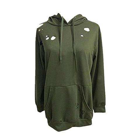 Long Sleeve Hoodie, Tonsee Womens Loose Casual Sweatshirt (M Bust:40.16Inch, Green)