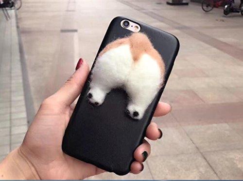 3D Flauschig Corgi Telefon Butt Fällen Animal Telefon Fällen für Apple iPhone 66S Plus 14cm, Back Cover w/Solid Hund Gesäß Handy Schutz Skins (Schwarz