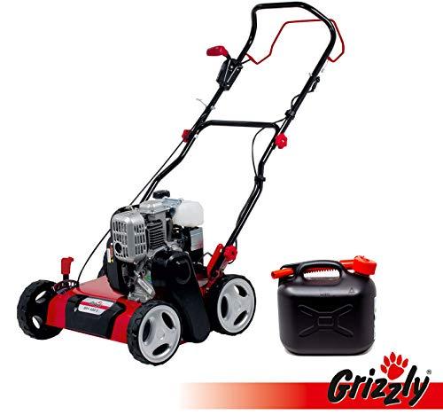 Grizzly Benzin Vertikutierer BRV 400 S, 40 cm Arbeitsbreite, 131cc 4Takt Motor, 2,2 kW 3PS, inkl. Vertikutierwalze und 5 Liter Kanister mit Auslauf für Benzin