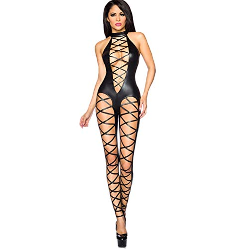 CHB Schwarzes Imitationsleder Sexy PU Jumpsuit Strumpfhosen Nachtclub Hot Girl DS Pole Dance Kostüm,1004
