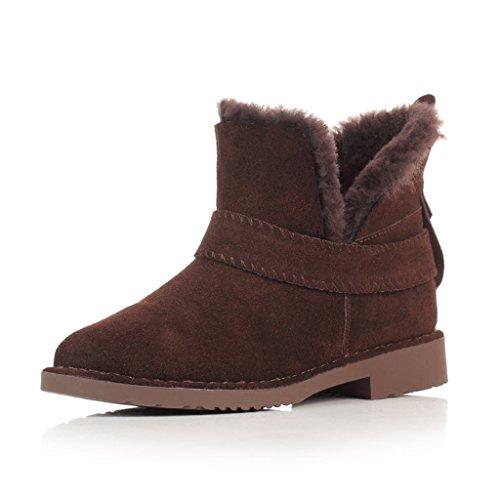 Schneestiefel Schnee-Stiefel-weibliche Winter-kurze Stiefel, die Student Cotton Shoes verdicken Stiefel ( Farbe : Schokoladen-Farben , größe : 36 ) (Kinder-schuhe Schokolade Jugend)