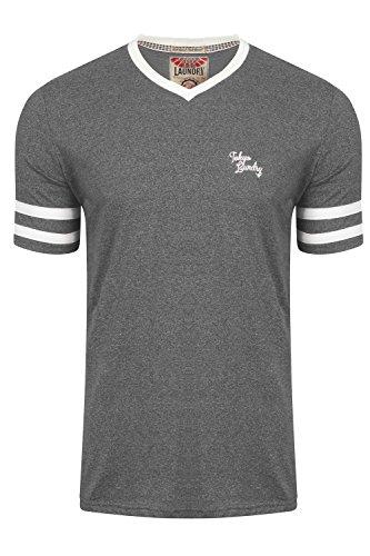 Tokyo Laundry Herren Blusen T-Shirt, Gestreift grau grau Charcoal - Grey