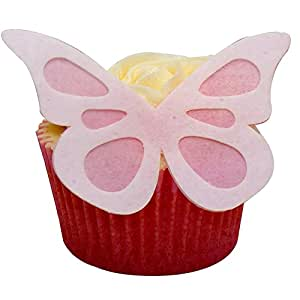 Pack of 12 perfectly Pre-Cut Large Wafer Shadow Butterflies - White on Baby Pink by CDA Products 201-759