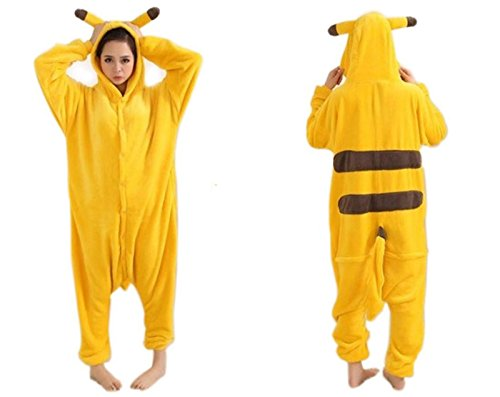 Damen Herren Erwachsene Korallen Fleece Tier Body Kostüm Pullover Pyjamas Schlaf Verschleiß kitty cat / Pikachu / Dinosaurier / Chinchillas / Stich / Giraffen / Kühe / Tigger (XL(175-185cm), 2.Pikachu) (Stich Kostüm Für Erwachsene)