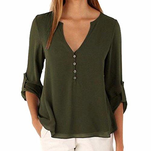 QIYUN.Z Donne Casuali Manica Lunga Pulsante Chiffon con Scollo V Arredamento Camicie Orlo Irregolare Cime Army Green