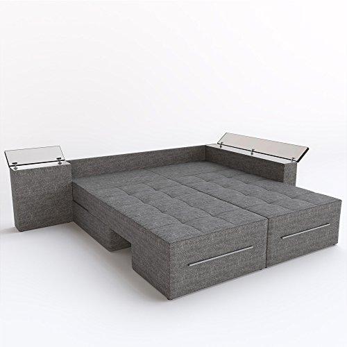 Ecksofa mit Schlaffunktion Eckcouch Sofa Couch Schlafsofa Relax Funktion Grau (Rotationsfunktion: Links) - 3