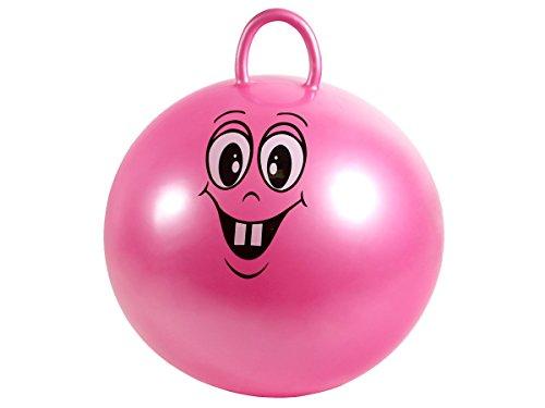 Kinder Hüpfball Gummiball Springball Hopsball Sprungball Hopser mit Gesicht und Griff 50 cm von Alsino, Variante wählen:8809 pink