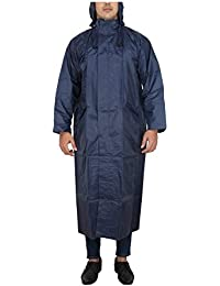 Tubination Men's Blue Long Rain Coat with Cap and Cover