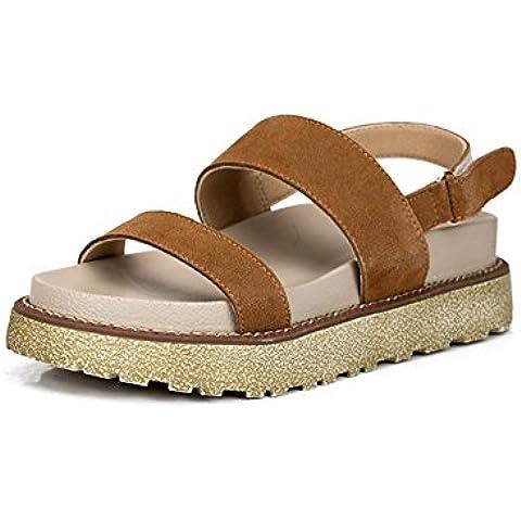 Alla moda sandali di cuoio piane/ scarpe sulla piattaforma tacco piatto estivi/ Sandali della signora tempo libero