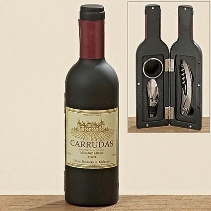 Wein-Zubehör Set 4-tlg. Weinflaschen-Optik Edelstahl
