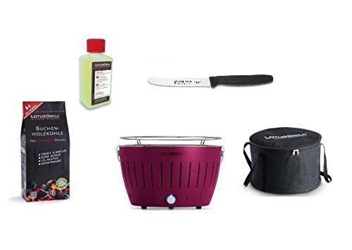 LotusGrill Kit débutant 1x violet prune 1x charbon de bois du livre 1kg, 1x Pâte brûlante 200 ml, 1x couteau Creamer 11cm avec dentelé, 1x sac transport - Le fumée PAUVRE / table en diverses