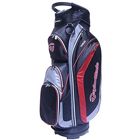 TaylorMade 2017 Corza Cart Bag Mens Golf Trolley Bag 14-Way Divider Black/Charcoal/Red