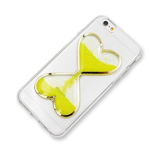 Custodia Bumper per iPhone 6s Plus / 6 Plus 5.5 Case cover,Herzzer mode Liquido trasparente design Coquille 3D protezione Dual Layer Shell Liquid,amore cuore love Giallo Clessidra Unico Molto sottile Giallo