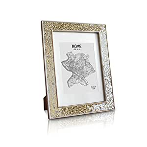 Glamour by Casa Chic Gold Photo Frame - A4 Frame Glitter Mosaic - Glass Front - With Picture Mount for 8x6 inch Photo - 4 Centimetres Edge Width - Sparkling Gold