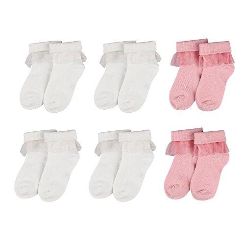6 Paare Weiß Rüschen Socken Baby Mädchen Spitzen - top Baumwollsocken Neugeborene Taufe Hochzeit 0-6 Monate
