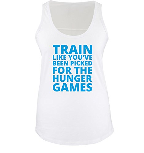 Comedy Shirts - Train like you've been picked for the HUNGER GAMES - Damen Tank Top - Weiss / Blau Gr. XXL