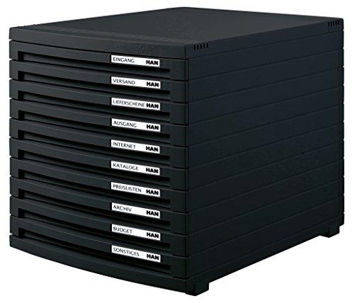 HAN 1510-13 Schubladenbox Contur, Modernes Organisationssystem, Ausbaubar, Premium Qualität für die professionelle Organisation mit 10 Geschlossenen Schubladen, schwarz