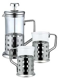 Cafetière/ Théière en acier inoxydable de 350 ml - verseuse en verre - avec 2 Tasses en verre