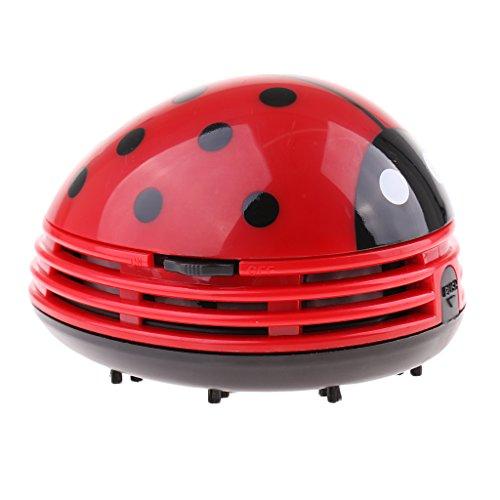 Baoblaze Niedilche Frosch/Erdbeere/Käfer Figur Mini Tisch Staubsauger für Asche oder Staub Reiniger - Rote Käfer
