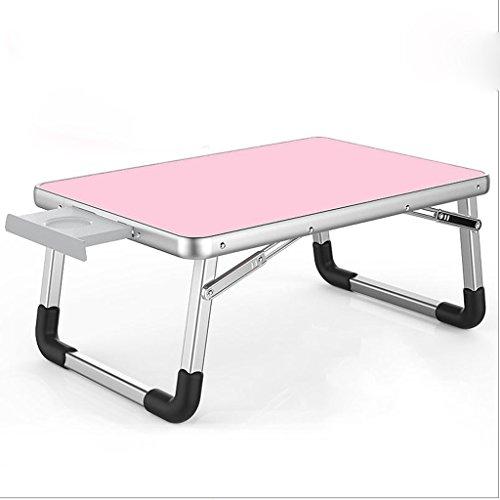 Gfl Laptop-Tabelle Aluminiumlegierungs-zusammenklappbare Bett-Oberen-Gebrauchs-Schlafsaal Lernen kleines Buch-Schreibtisch-Rechteck mit Fach Computerstand (Farbe : Pink, größe : 70 * 50 * 32cm) - Pink Kaffee-tisch-bücher