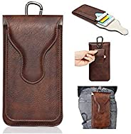 Realtech Pu Leather Belt Clip Case with Double Mobile Pocket Pouch Cover, Holster Belt Clip Case Magnetic Cove