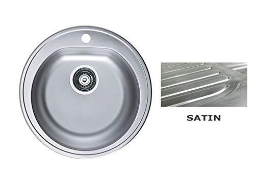 VBChome: Einbauspüle 410x390 mm Ø 510 mm Camping Küchenspüle - Satinstruktur Alveus Form 30 Spülbecken EDELSTAHL Einbauspüle Camping Küchenspüle Ablaufgarnitur
