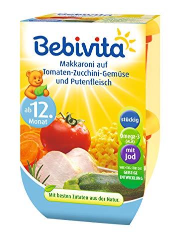 Bebivita Makkaroni auf Tomaten-Zucchini-Gemüse und Putenfleisch, 4er Pack ( 4 x 2 x 250 g )