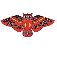 Deykhang Kite Cloth Cartoon Owl Flying Single Line Kite with 1.4m Outdoor Fun Sports Kids Toy Plaything For Children Adult Birthday Gift Red