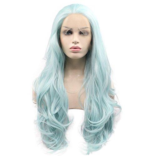 61cm hellblau natürlichen Wave synthetischen Lace Front Perücken 180% Dichte Hälfte Hand auf Hitzebeständige Kunstfaser Haare Ersatz Perücke für Frau