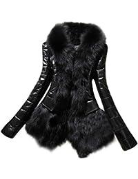 Hiroo Nuevo diseñador Mujer Otoño invierno Abrigo de cuello de piel caliente Chaqueta gruesa de cuero