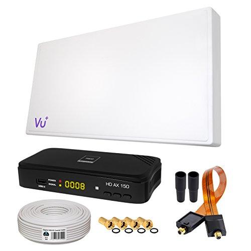 SAT KOMPLETT SET von HB-DIGITAL: Hochleistungs-Sat-Flachantenne ✨ H38D Single 1 Teilnehmer Direkt ➕ 1x Hochwertiger SAT-Recever ➕ Fensterhalterung ➕ 10m HQ-135 SAT-Kabel ➕ SAT Fensterdurchführung GOLD ➕ 4x F-Stecker vergoldet ➕ 2x Gummitüllen ➕ HDMI Kabel ■ FULL HD TV 3D 4K ■ (ALL-IN-ONE) Parabolspiegel-antenne
