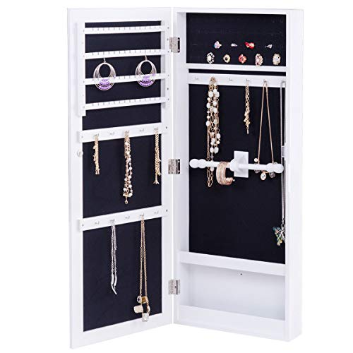 Costway armadietto per gioielli armadio portagioie da parete con specchio in mdf, bianco, 35 x 9 x 88 cm