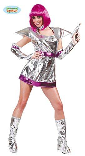 Space Girl Kostüm für Damen Gr. M/L, (Girl Space Silber Kostüm)