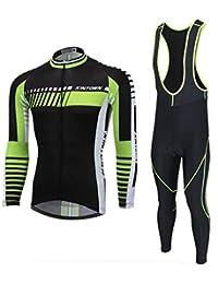 Zhangmc Jersey de Ciclismo Manga Larga y Conjuntos de Pantalones de Babero Acolchados, Ropa de