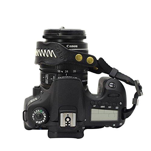 LIUONEXI Kamera Leder Handschlaufe Handgelenkschlaufe Outdoor Wrist Strap Camera Hand Strap Kamera Trageschlaufe Entlasten Müdigkeit Handriemen Komfortpolsterung Sicherheit für alle Kameras Schwarz