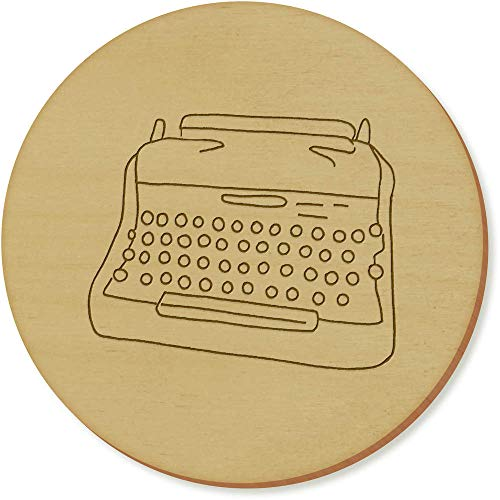 Azeeda 6 x 'Schreibmaschine' Runde Hölzerne Untersetzer (CR00139127)