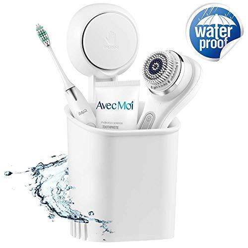Ulinek Zahnbürstenhalter mit Saugnapf Haken, Ohne Bohren Max 5 KG Multi Duschkorb zur Kosmetikaufbewahrung, Zahnbürste, Pinsel usw