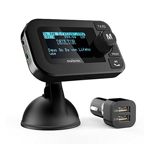 Signstek 5 in 1 Auto DAB + Digital Radio mit Bluetooth FM Transmitter Empfänger und Car Kit / Ladegerät / Micro SD Player / Freisprechfunktion mit aktiver Antenne (2 Jahre Garantie)