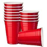 Matana 120 Gobelet de Fête Rouges,16oz (473ml) - Gobelets en Plastique Réutilisables et Jetables - Extra Résistant American Party Red Cups - Verre Biere Beer Pong, Fêtes d'anniversaire Soirées.