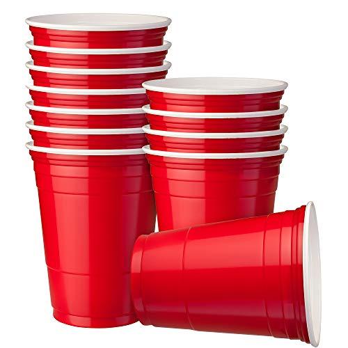 matana 60 Rote Partybecher, 16oz (470ml) - Wiederverwendbar & Einweg Plastikbecher - Extra Starke Qualität American Party Cups - Perfekt für Bier Pong bei Weihnachtsfeiern und Events