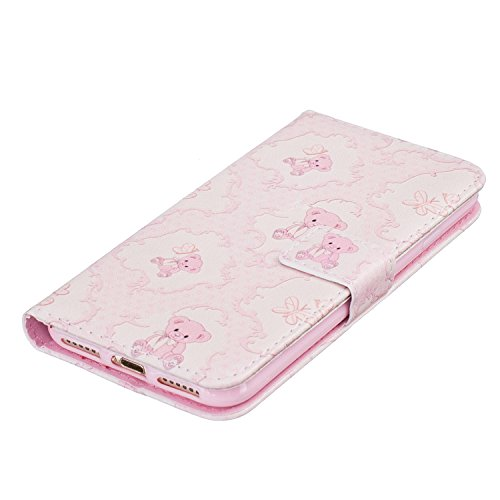 iPhone 7étui portefeuille en cuir pour livre, newstars Fleurs Papillon gaufrage en relief PU Touch Housses Protège la peau étui en cuir avec béquille pour iPhone 7emplacements pour cartes avec/poche Ours rose