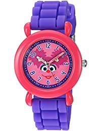 eWatchFactory Girl's 'Sesame Street' Quartz Plastic and Silicone Casual Watch, Color:Purple (Model: WSS000033)