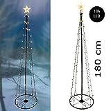 Spetebo - Albero di Natale in metallo, misura XL, con 8 funzioni luminose, 106 LED, 180 cm, luce bianca calda