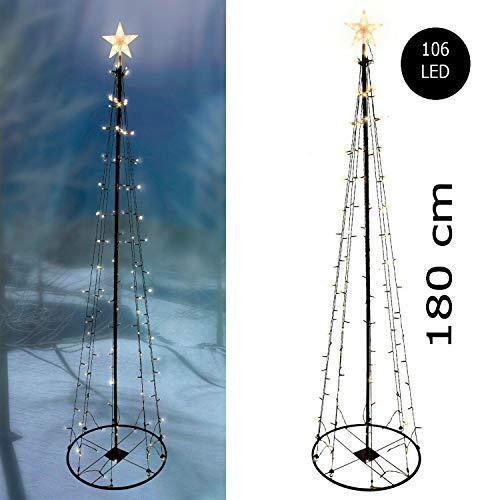 XL Weihnachtsdekoration Weihnachtsbeleuchtung LED Metall Weihnachtsbaum 106 LEDs 180cm warmweiß