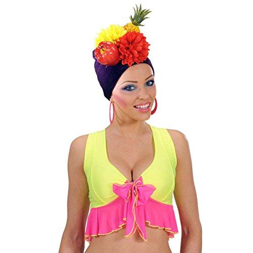 Amakando Copacabana Kopftuch Karibik Party Hut Südsee Kopfbedeckung mit Früchten und Blumen Tutti Frutti Mütze Fasching Tropischer Faschingshut Sommer Mottoparty Accessoire Karneval Kostüm Zubehör
