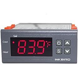 Inkbird ITC-1000 Double Relai 220v Thermostat avec Sonde,Refroidissement et Chauffage Thermostat Terrarium Reptile Incubateur,Couveuse,Frigo,Chauffe Eau Aquarium Regulateur de Temperature