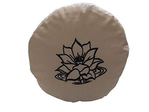 Brow Farm Sarrasin Yoga Bolster, Natural Cotton Embroidered