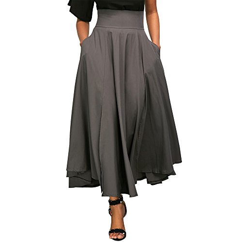 Uranus Damen Stretchy Waistband High Waist Pleated Swing Langer Maxi Rock Kleid Grau (Tasche Rock)