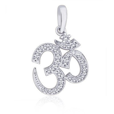 Peora Valentine Sterling Silver Rhodium Plated Round Cubic Zircon Divine Religious Spiritual OM Pendant OMS