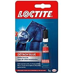 Loctite Détach'Glue, dissolvant colle qui enlève taches et résidus de colle cyanoacrylate, gel transparent multi-usages et qui ne coule pas, tube de 5 g